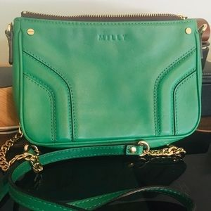 Milly Leather clutch with chain (LIKE NEW)